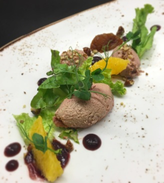 Chicken Liver Parfait/ Cheery/ Orange/ Walnut