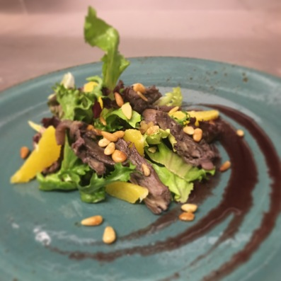 Confit Duck Salad/ Spiced Red Wine Dressing/ Pine Nuts