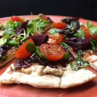 Vegan Pizza / Tomato / Basil / Cashew / Pickled Walnut / Red Onion Marmalade /
