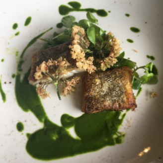Pan Seared Hake / Wild Garlic Puree / Tempura Garlic Flower