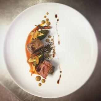 lamb / Pea and Courgette Falafel / Dukkha / Ketchup / Caper Raisin Purée / Apricot / Carrot /