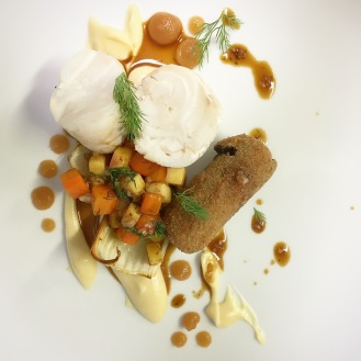 Poached Cod (apple juice) / Apple / Carrot / Fennel / Dill / Celeriac /