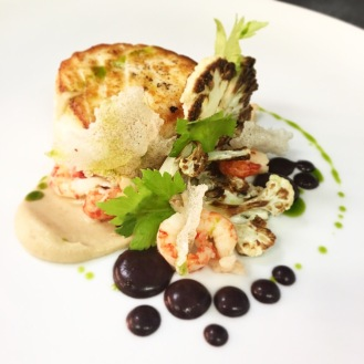 Halibut / Cauliflower / Celery / Crayfish / Black Pudding