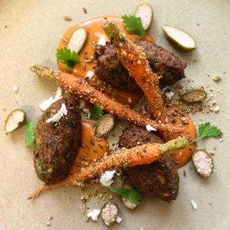 Courgette Falafel / Carrot / Dukkah / Corriander / Caper Berry