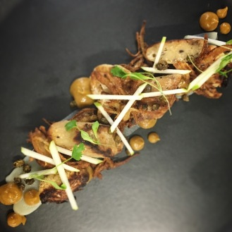 Olive Gnocchi / Onion Bhajee / Salt Baked Cauliflower / Caper and Raisin Puree / Apple